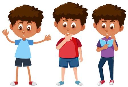 Set of tanned boys illustration