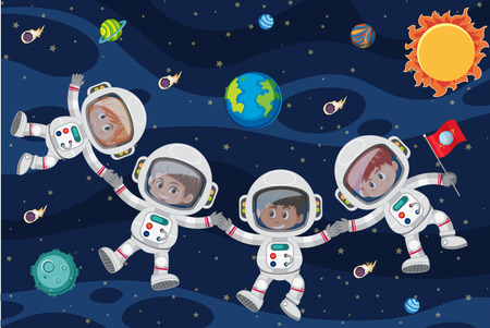 Astronuats floating through space illustration Stock Illustratie