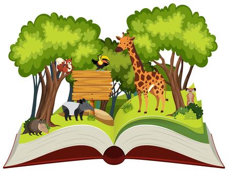 Wild animals open book illustration Illustration