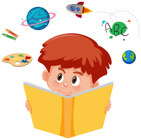 Young boy reading a book with imagination illustration