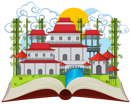 An asian building open book illustration Illustration
