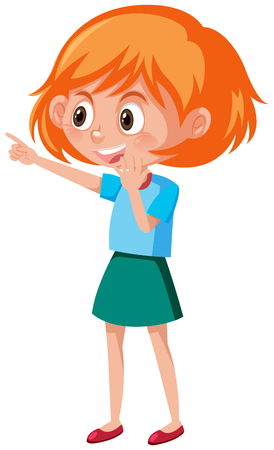 Young ginger girl pointing illustration