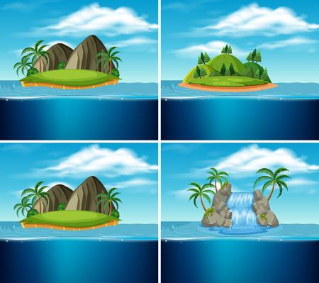 A set of paradise island illustration