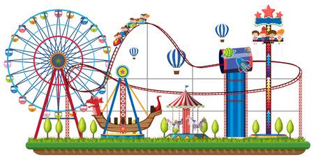 Paseos del parque temático en la ilustración de fondo blanco