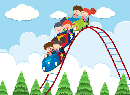 Children riding roller coaster illustration