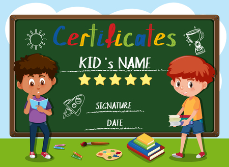 Child certificate infront of blackboard illustration