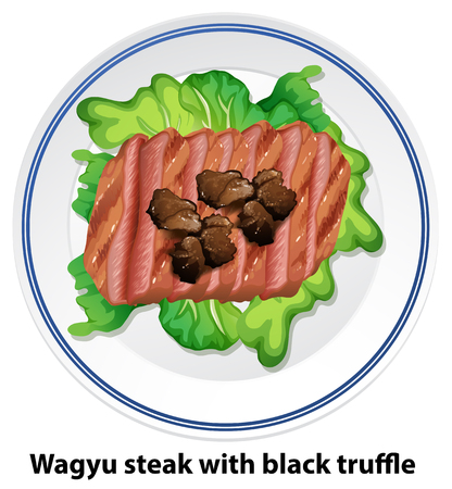 Wagyu steak with black truffle illustration