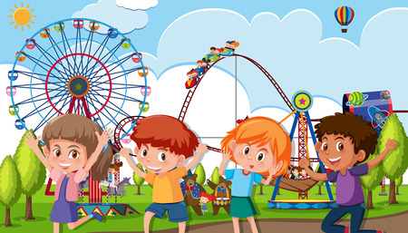 A group of children at theme park illustration
