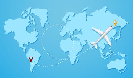 A plane flying to destination illustration Illustration