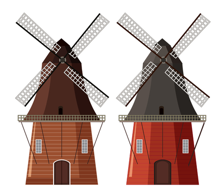 A set of wooden windmill illustration