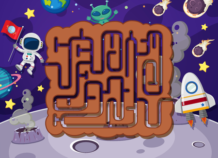 Maze puzzle in space illustration