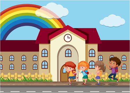 Student going to school illustration