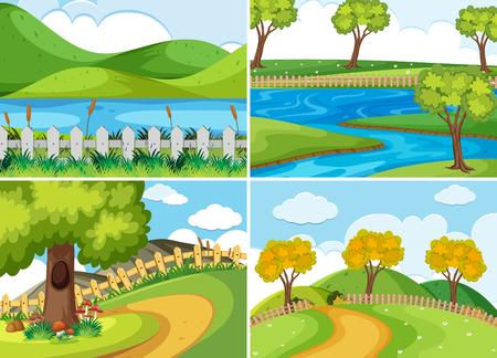 A set of nature landscape illustration