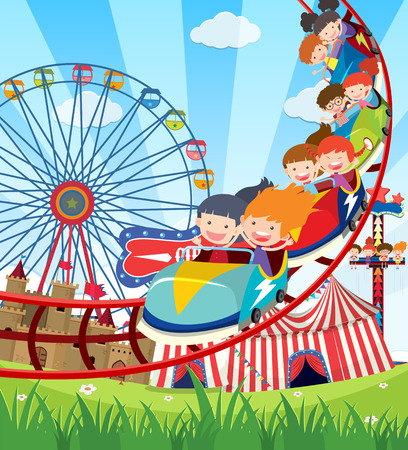 Children riding roller coaster illustration Иллюстрация