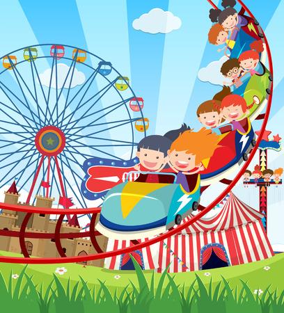 Niños montando montaña rusa ilustración