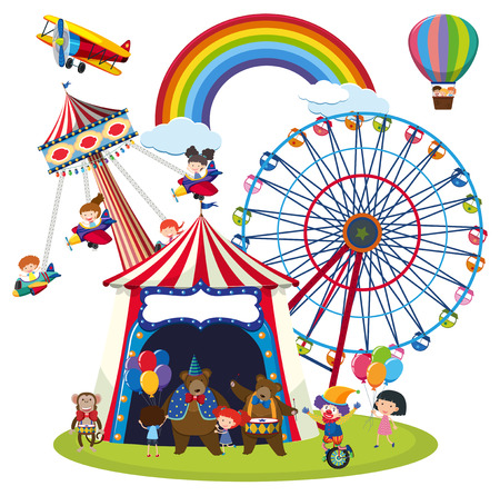 Children at a fun park scene illustration Vectores