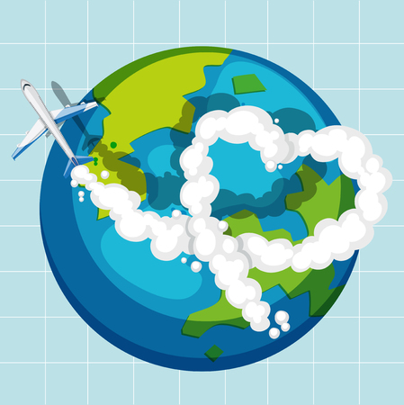 An airplane flying over the globe illustration
