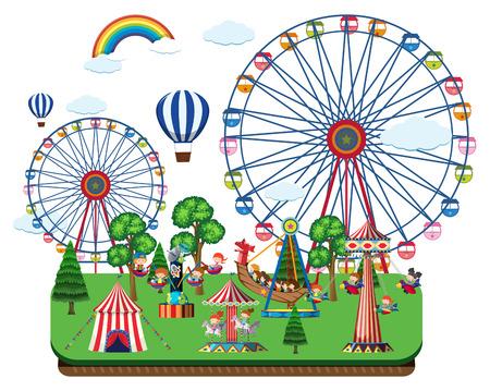 Fair scene with amusement rides illustration