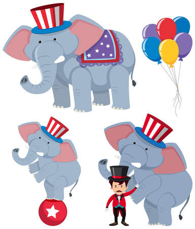 A set of circus elephants illustration