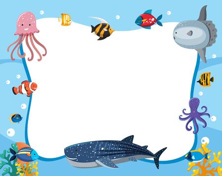 Una ilustración de borde de animales bajo el agua.