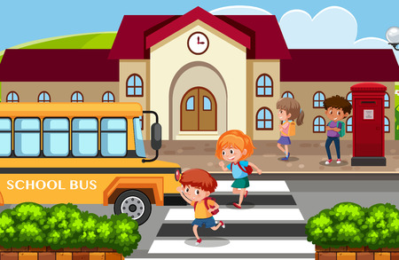 Students go back home by school bus illustration Illustration