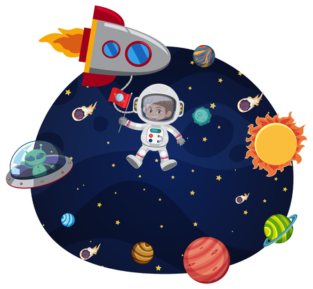 An astronaut in space template illustration  イラスト・ベクター素材