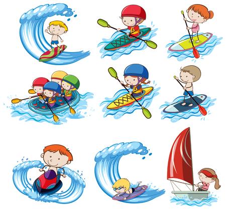 A set of water sport illustration