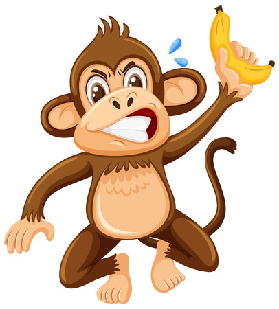 An angry monkey on white background illustration Ilustração