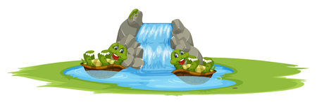 Turtle playing in the pond illustration 矢量图像