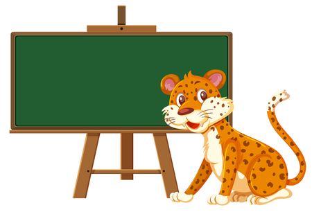 A leopard and blackboard banner illustration Illustration