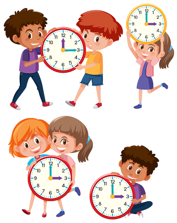 Children and time on white background illustration Иллюстрация