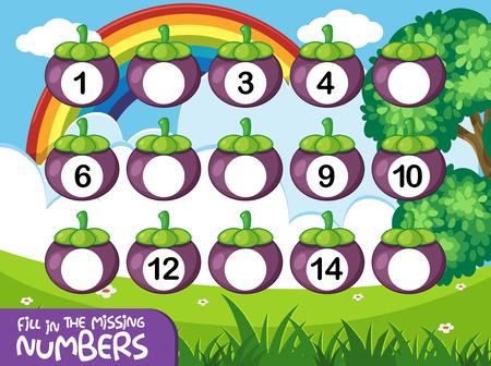 Ilustración de juego de números de couting de matemáticas