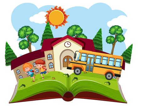 Open book school theme illustration Stock Illustratie