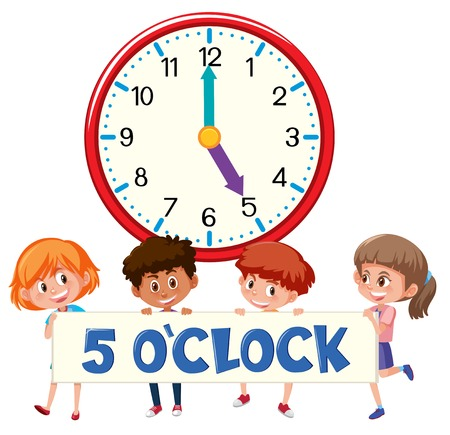 5 o'clock and students illustration