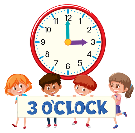 3 o'clock and students illustration
