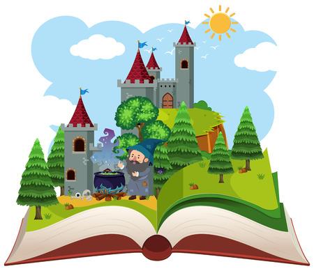 Fairy tail open boekillustratie Vector Illustratie