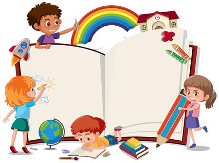 Children on the blank book illustration