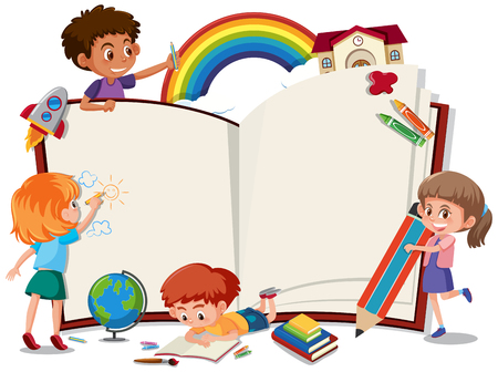Children on the blank book illustration Foto de archivo - 111875559