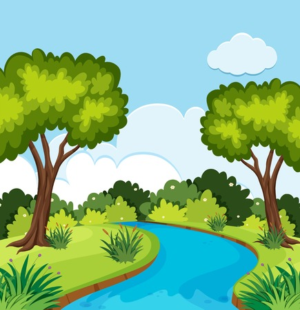 A beautiful nature landscape illustration