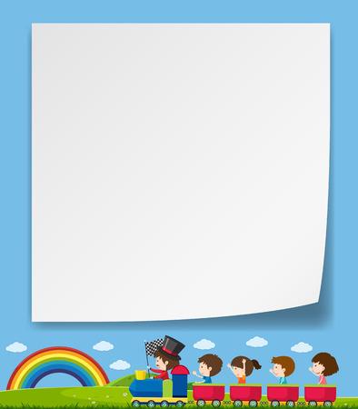 A blank note with children illustration Vektorové ilustrace