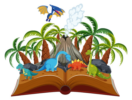 Open book dinosaur theme illustration