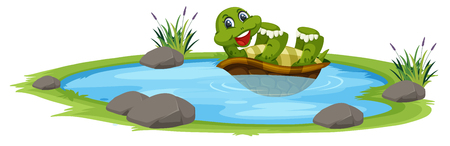Turtle in the pond illustration