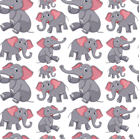 Cute elephant seamless background illustration Vettoriali