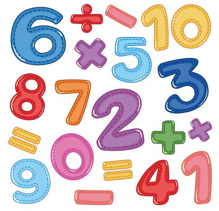 Un conjunto de ilustración de icono de números y matemáticas Ilustración de vector