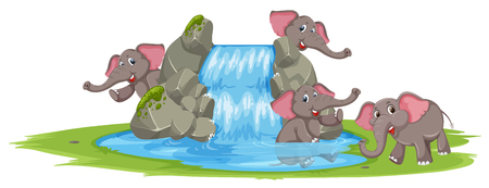 Elephant playing in the water illustration Ilustrace