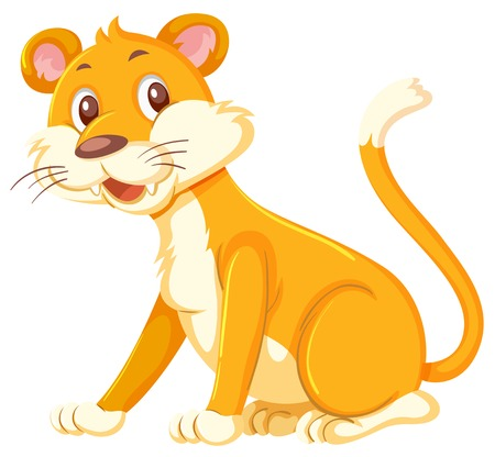 A female lion on white background illustration