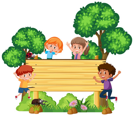 Wooden signboard with happy children illustration