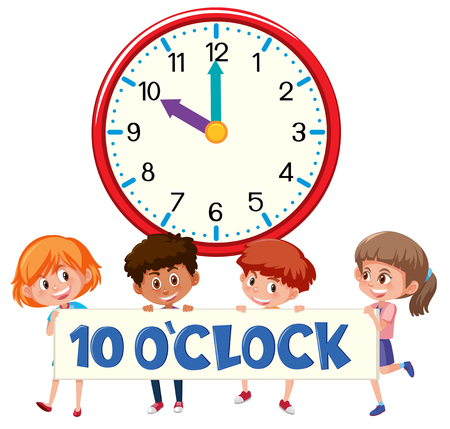 Ten o'clock with children  illustration Иллюстрация