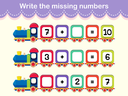 Write the missing numbers train poster illustration