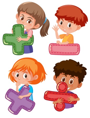 Set of children holding mathematic symbols illustration